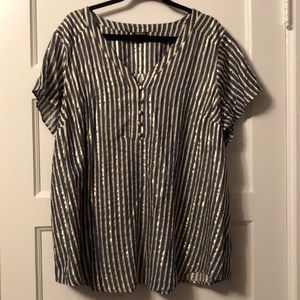Torrid Blue white and gold striped blouse - Sz 3